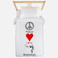 Peace Love Basketball Twin Duvet