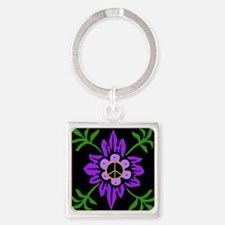 Purple Peace Flower Square Keychain