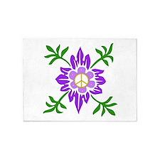 Purple Peace Flower 5'x7'Area Rug