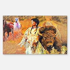 Buffalo Woman Sticker (Rectangle)