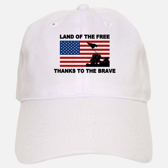 Land Of The Free Thanks To The Brave Baseball Baseball Baseball Cap