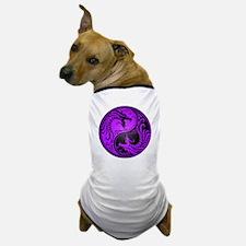 Purple and Black Yin Yang Dragons Dog T-Shirt