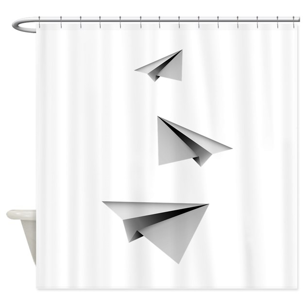 Origami paper plane shower curtain by v ink for Origami curtain