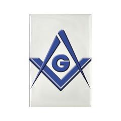 Modern Blue Lodge S&C Rectangle Magnet (100 pack)