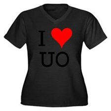 I Love UO Women's Plus Size V-Neck Dark T-Shirt