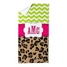 Pink Green Chevron Leopard Monogram Beach Towel