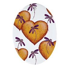 Love Hearts and Dragonflies Purple Haze Ornament (