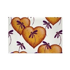 Love Hearts and Dragonflies Purple Haze Magnets