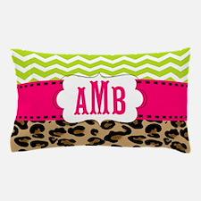 Pink Green Chevron Leopard Monogram Pillow Case