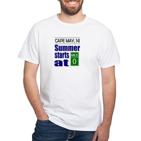 Summer Starts at Mile 0 White T-Shirt
