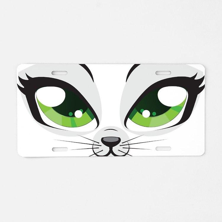 Meow Aluminum License Plate