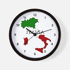 Italy Flag Map Wall Clock