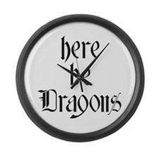 Here Be Dragons 001a Large Wall Clock