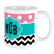 Pink Teal Black Chevron Dots Monogram Mugs