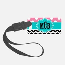 Pink Teal Black Chevron Dots Luggage Tag