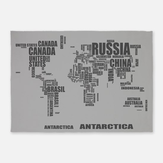 Typography Wolrd Map 5'x7'Area Rug
