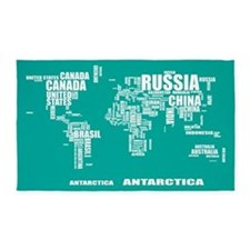 Typography World Map 3'x5' Area Rug