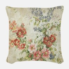 Beautiful Vintage Floral Woven Throw Pillow