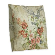 Beautiful Vintage Floral Burlap Throw Pillow