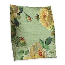 Beautiful vintage yellow rose Burlap Throw Pillow