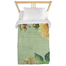 Beautiful vintage yellow rose Twin Duvet