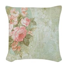 Chic vintage pink rose Woven Throw Pillow