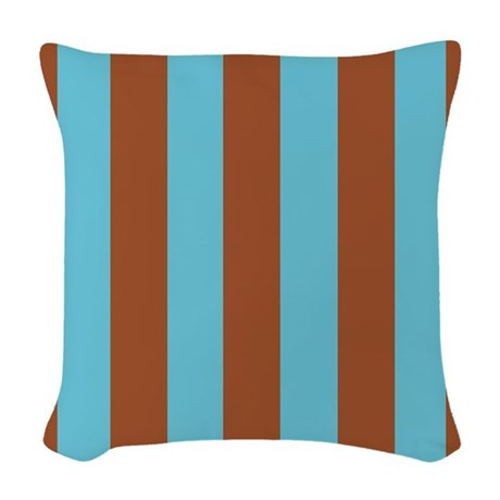 Woven Blue Throw Pillow : Cocoa and Blue Stripes Woven Throw Pillow by stripstrapstripes