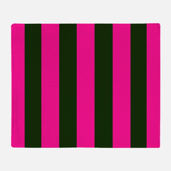 Hot Pink and Black Stripes Throw Blanket