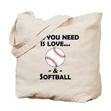 Love And Softball Tote Bag