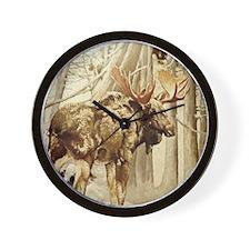 Vintage Woodland Moose Wall Clock