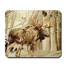 Vintage Woodland Moose Mousepad