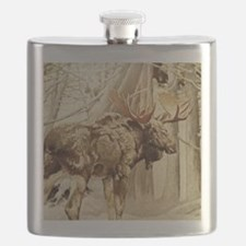 Vintage Woodland Moose Flask
