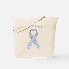 Silver Awareness Ribbon Tote Bag