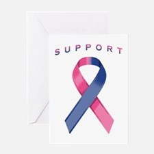 Pink and Blue Awareness Ribbon Greeting Card