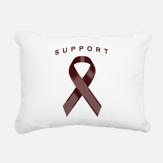 Burgundy Awareness Ribbo Rectangular Canvas Pillow