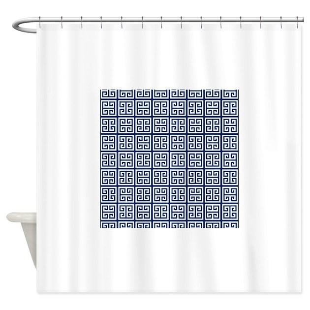 Blue Greek Key Pattern Shower Curtain By Stircrazy