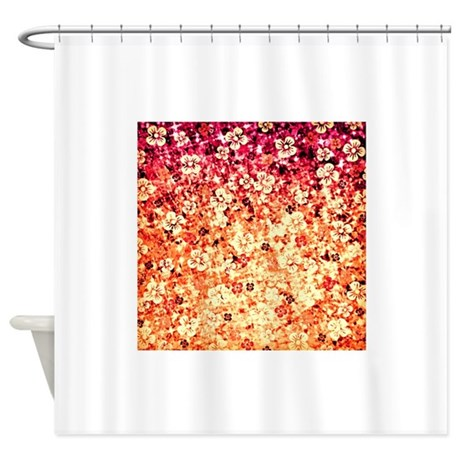 Flower Power In Orange Shower Curtain By EbiEmporium