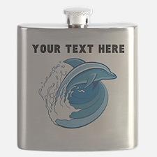 Custom Blue Dolphin Flask