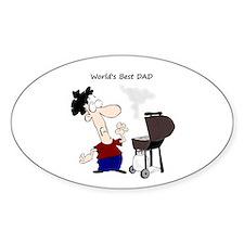 Worlds Best Dad Fun quote BBQ Chef Cartoon Decal