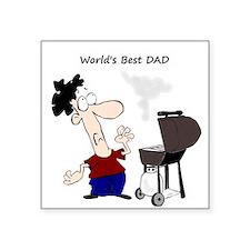 Worlds Best Dad Fun quote BBQ Chef Cartoon Sticker