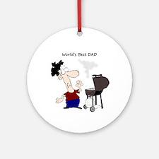 Worlds Best Dad Fun Quote Bbq Ornament (round)