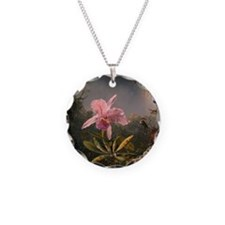 Cattleya Orchid and Hummingbirds Necklace