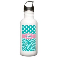 Pink Teal Dots Zebra Personalized Water Bottle