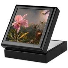Cattleya Orchid and Hummingbirds Keepsake Box
