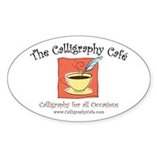 Calligraphy Cafe Oval Decal