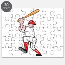 Baseball Player Batting Isolated Full Cartoon Puzz
