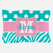 Pink Teal Dots Zebra Personalized Pillow Case