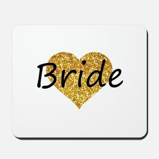 bride gold glitter heart Mousepad