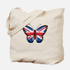 British Flag Butterfly Tote Bag
