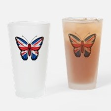 British Flag Butterfly Drinking Glass
